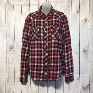 Levis Flannel Plaid Shirt L Pearl Snap Red Blue